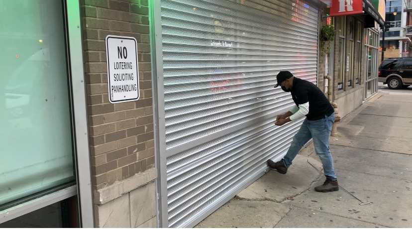 Manual spring push up/ pull down High security shutter